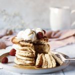 Nectarine and Raspberry Pancake Stack